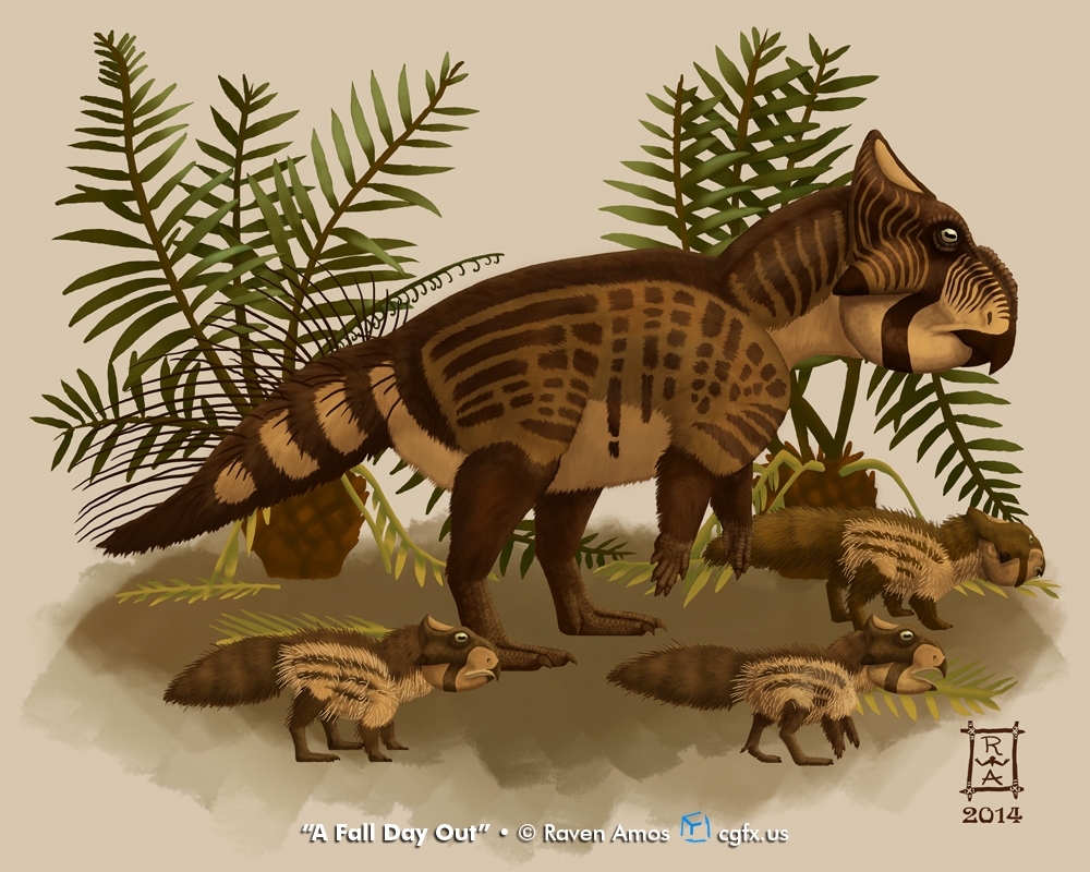 A mother Leptoceratops and her 3 chicks forage in the cycad undergrowth on a fall day.