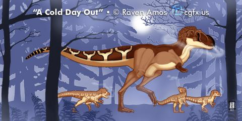 A mother Albertosaurus and her 3 chicks go for a stroll on a cold day in early winter through the towering dawn redwood forests of Cretaceous Alaska.