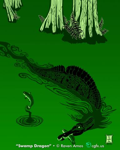 Ichthyovenator laosensis cruises the coastal swamps, catching an unlucky courting male Siamamia fish in this speculative reconstruction of behavior, environment, and species in Early Cretaceous Laos.