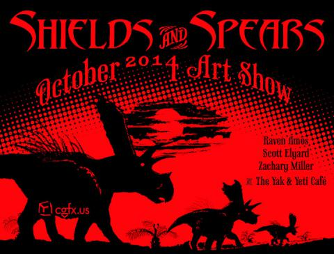 Shields and Spears Art Show Postcard in Red