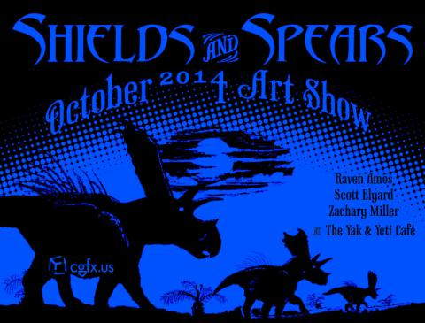 Shields and Spears Art Show Postcard in Blue