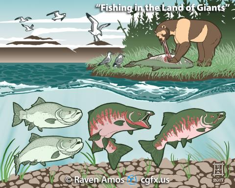 Scene depicting Pleistocene California with Oncorhynchus rastrosus, Arctodus simus, and Larus californicus.