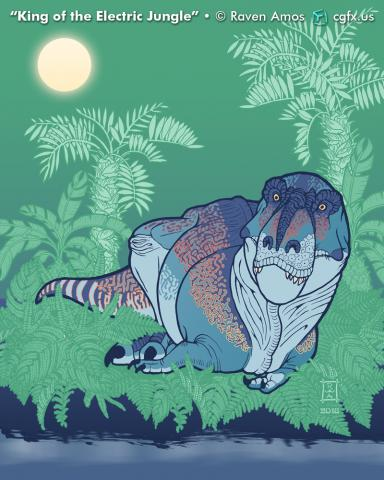 A lounging blue Tyrannosaur stares out of a hazy electric green jungle across a lazy stream on a warm afternoon in late summer.